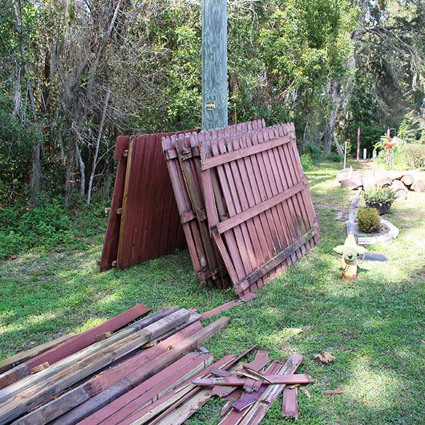Broken Wooden Fence Replacement, Weeki Wachee FL